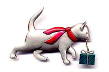 Cat with Present pin