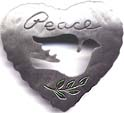 Peace Heart with Dove Outline pin